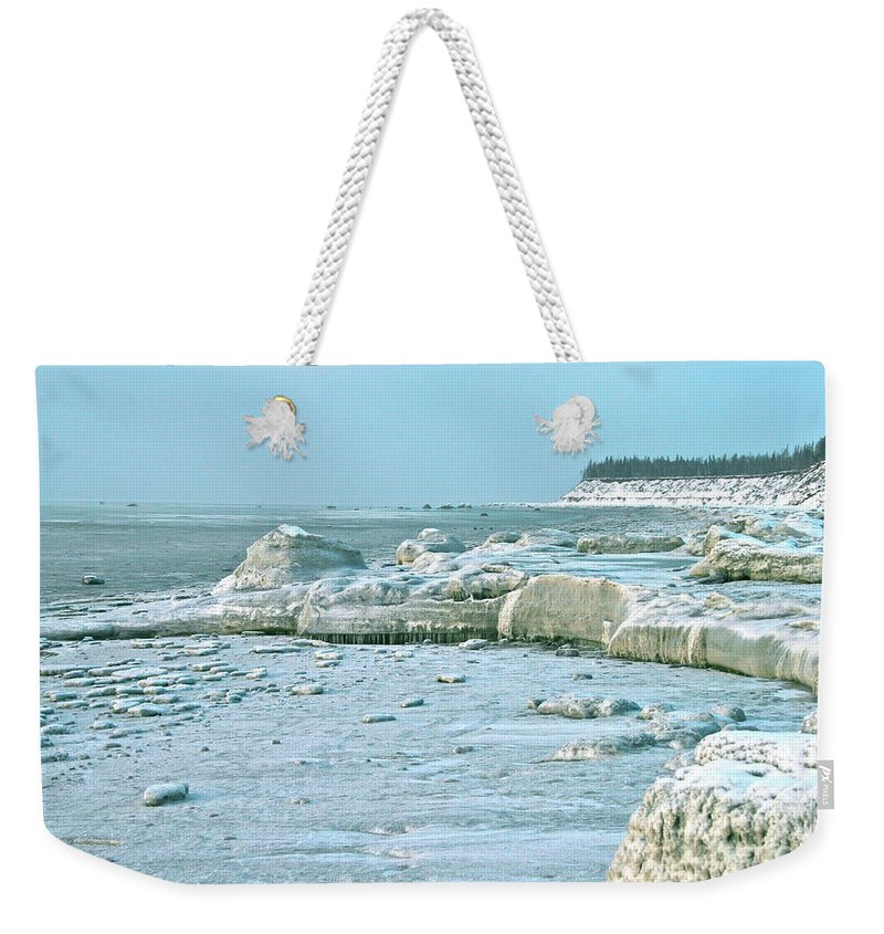 Shore Weekender Tote Bag featuring the photograph Frozen Beach by Rick Monyahan