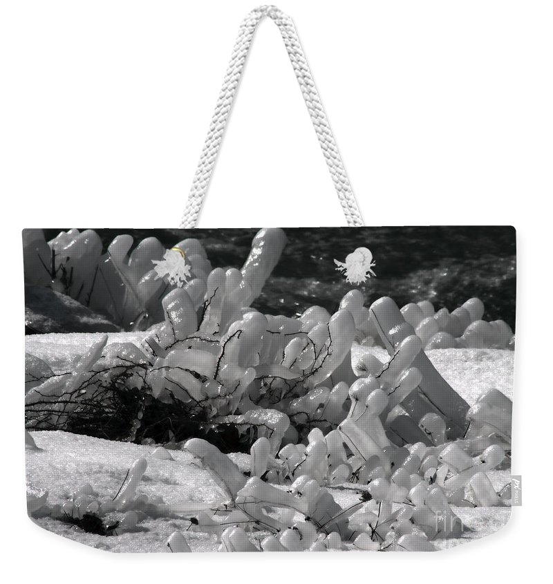 Ice Weekender Tote Bag featuring the photograph Frozen Falls Tundra Fingers by Darleen Stry