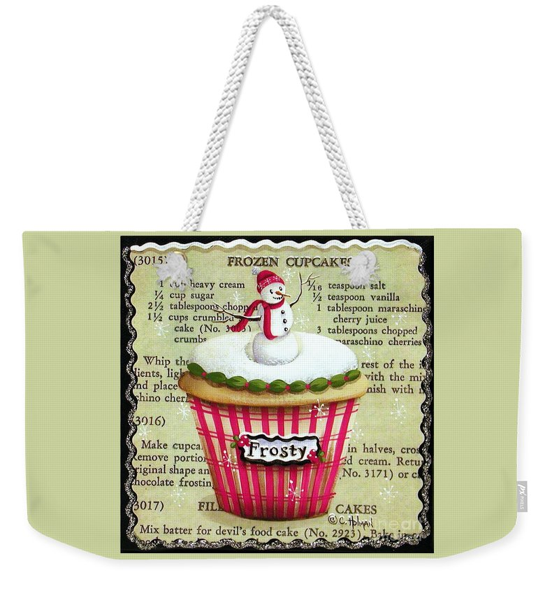 Art Weekender Tote Bag featuring the painting Frozen Frosty Cupcake by Catherine Holman