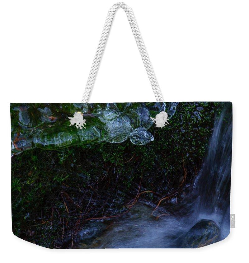 Frozen Garden Weekender Tote Bag featuring the photograph Frozen Garden Stream by Roxy Hurtubise