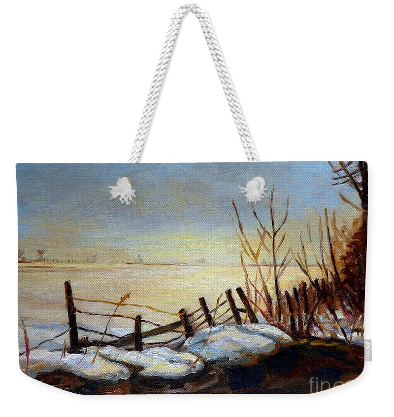 Frozen Lake Near Ste Adele Weekender Tote Bag featuring the painting Frozen Lake Near Ste. Adele by Carole Spandau