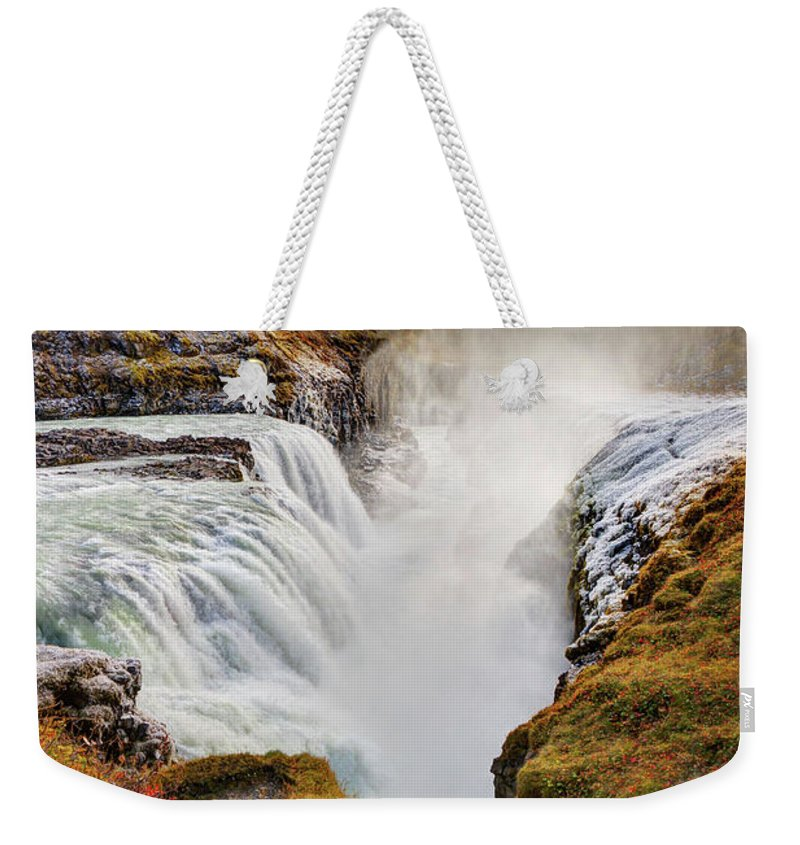 Scenics Weekender Tote Bag featuring the photograph Frozen Mist On Autumn Day At Gullfoss by Anna Gorin