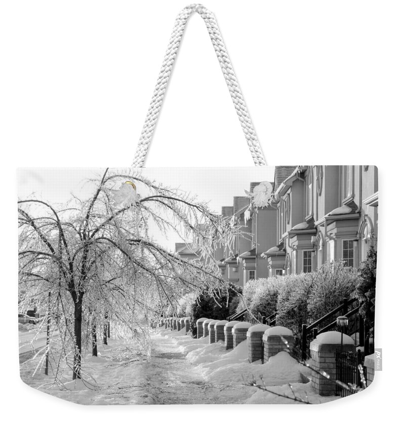 Frozen Weekender Tote Bag featuring the photograph Frozen Suburbia by Valentino Visentini
