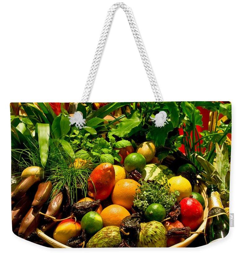 Fruit And Wine Landscape Photograph Weekender Tote Bag featuring the photograph Fruit And Wine by Mae Wertz