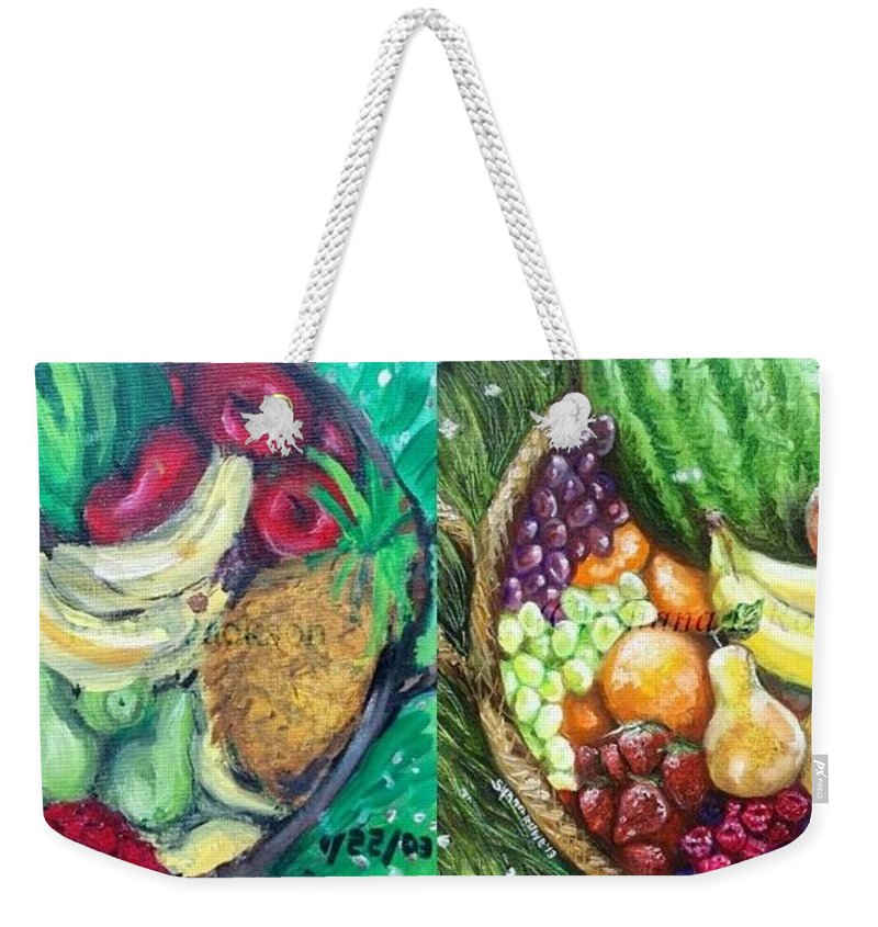 Weekender Tote Bag featuring the painting Fruit Basket Revival by Shana Rowe Jackson