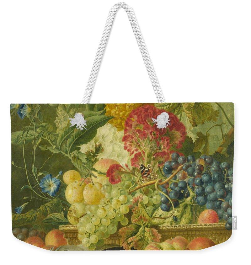 Wybrand Hendriks Weekender Tote Bag featuring the painting Fruit Flowers And Dead Birds by Wybrand Hendriks