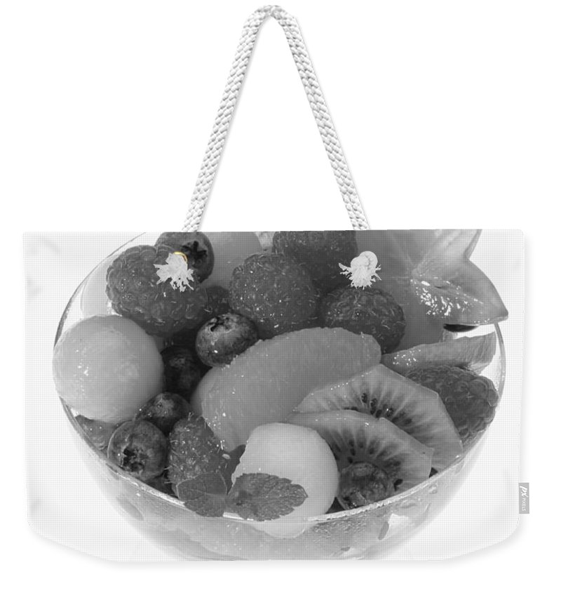 Food Weekender Tote Bag featuring the photograph Fruit Salad Cup Black And White by Iris Richardson
