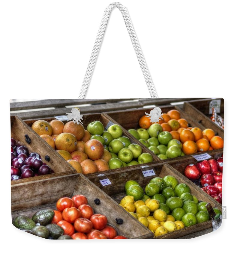 New Orleans Weekender Tote Bag featuring the photograph Fruit Stand by William Morgan