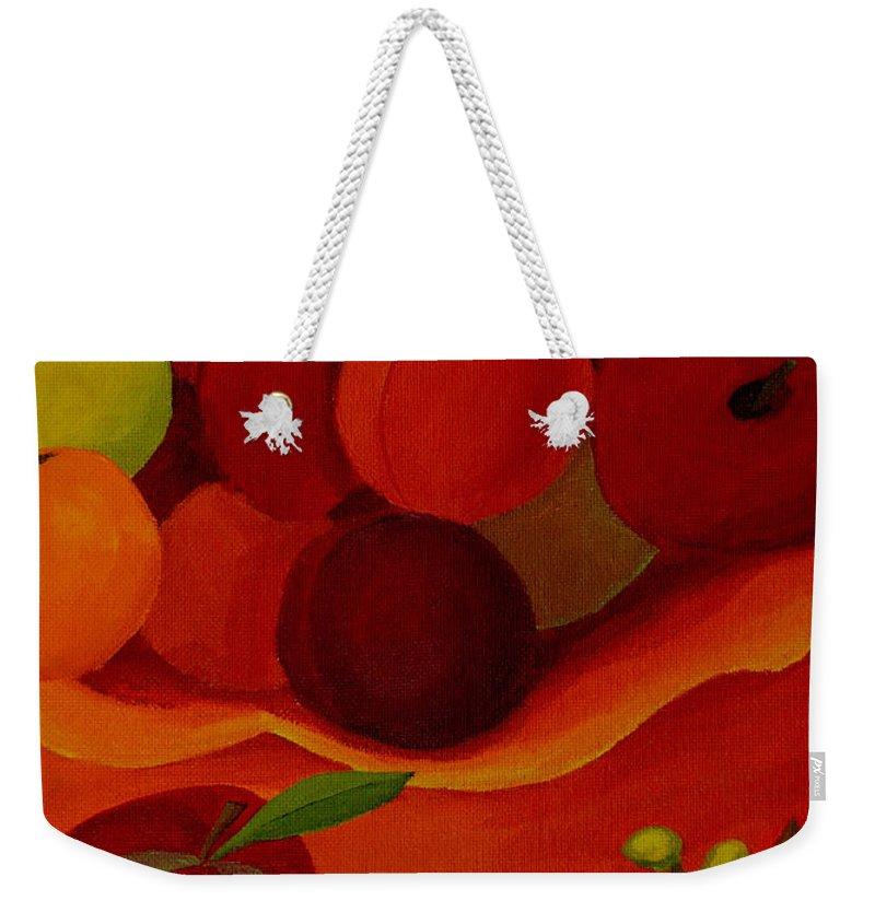 Fruit Weekender Tote Bag featuring the painting Fruit-still Life by Anthony Dunphy