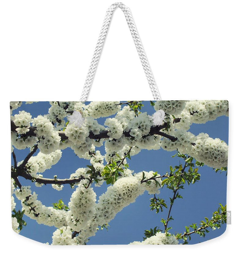 White Weekender Tote Bag featuring the photograph Fruit Tree Blooms by TouTouke A Y
