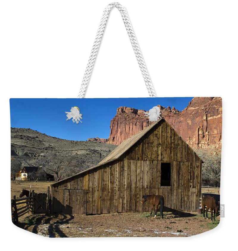Capitol Reef Weekender Tote Bag featuring the photograph Fruita Horse Stable Capitol Reef National Park Utah by Jason O Watson