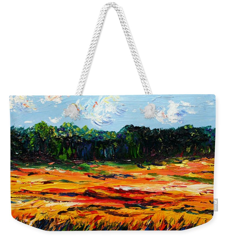 Landscape Weekender Tote Bag featuring the painting Fruition by Meaghan Troup