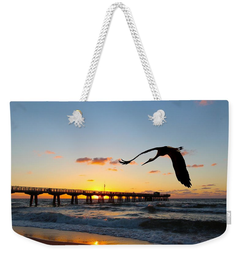 America Weekender Tote Bag featuring the photograph Ft Lauderdale Fishing Pier by Paul Fell