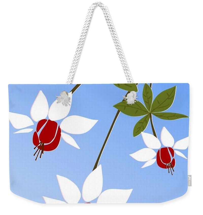Fuchsia Weekender Tote Bag featuring the digital art Fuchsia by Anastasiya Malakhova