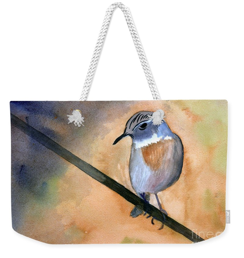 Animal Weekender Tote Bag featuring the painting Fuerteventura Chat by Donna Walsh