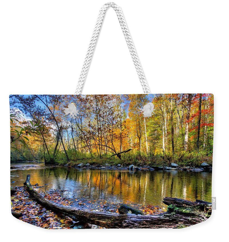 Appalachia Weekender Tote Bag featuring the photograph Full Box Of Crayons by Debra and Dave Vanderlaan