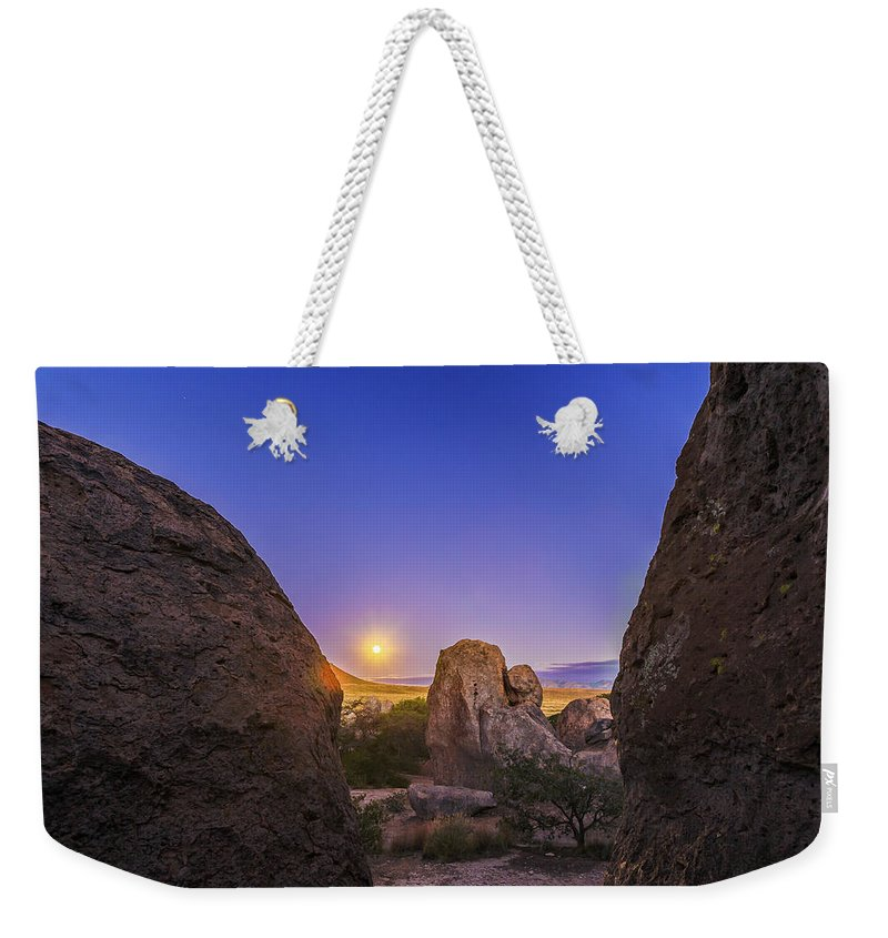 City Of Rocks State Park Weekender Tote Bag featuring the photograph Full Moon At City Of Rocks by Alan Dyer
