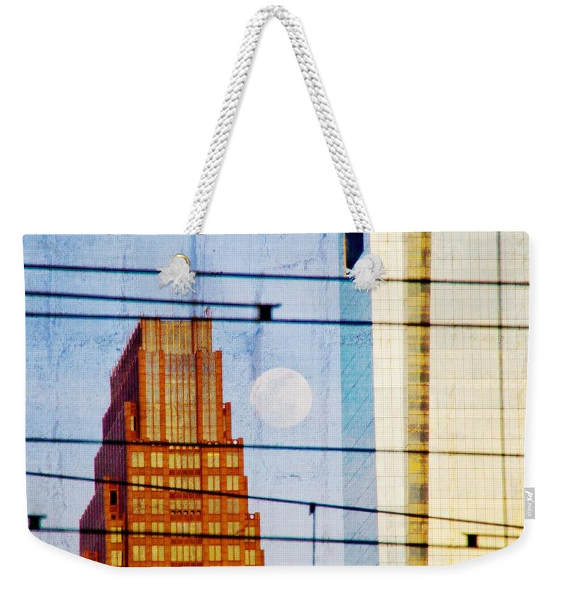 Full Moon Weekender Tote Bag featuring the photograph Full Moon In The City by Alice Gipson