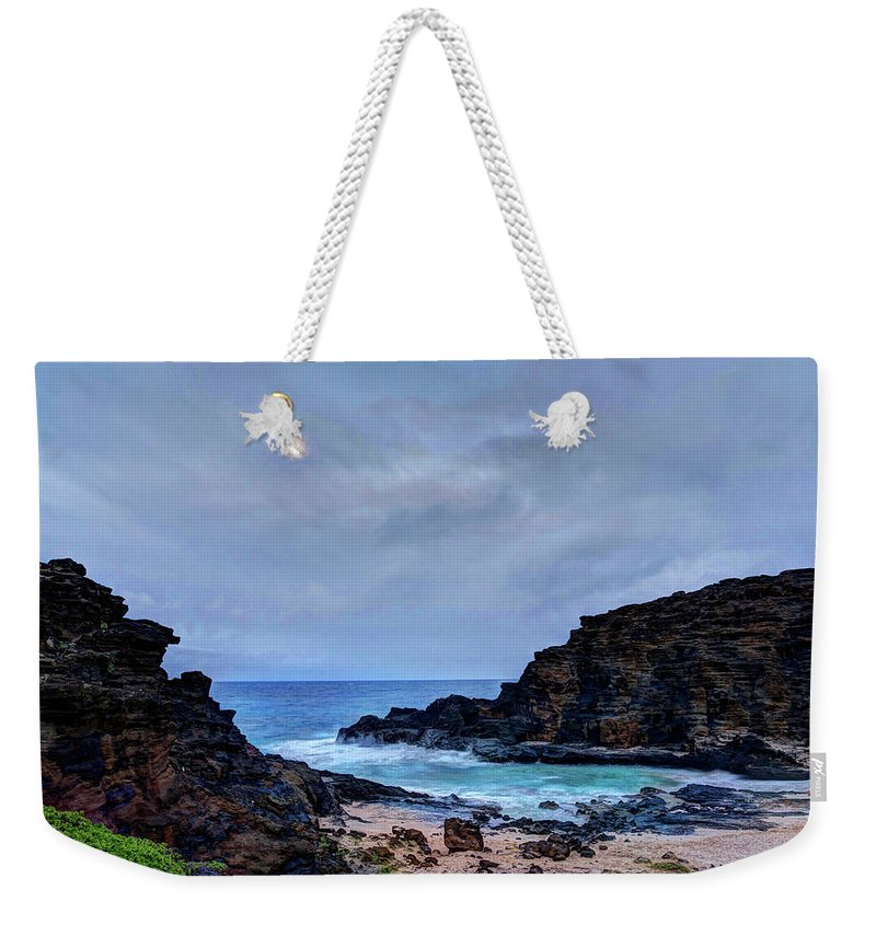 Tranquility Weekender Tote Bag featuring the photograph Full Moon In The Clouds by Julie Thurston