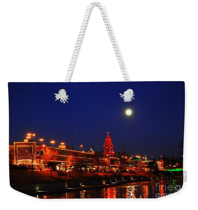 Kansas City Weekender Tote Bag featuring the photograph Full Moon Over Plaza Lights In Kansas City by Catherine Sherman