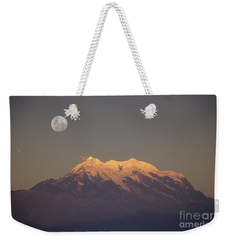 Bolivia Weekender Tote Bag featuring the photograph Full Moon Rise Over Mt Illimani by James Brunker