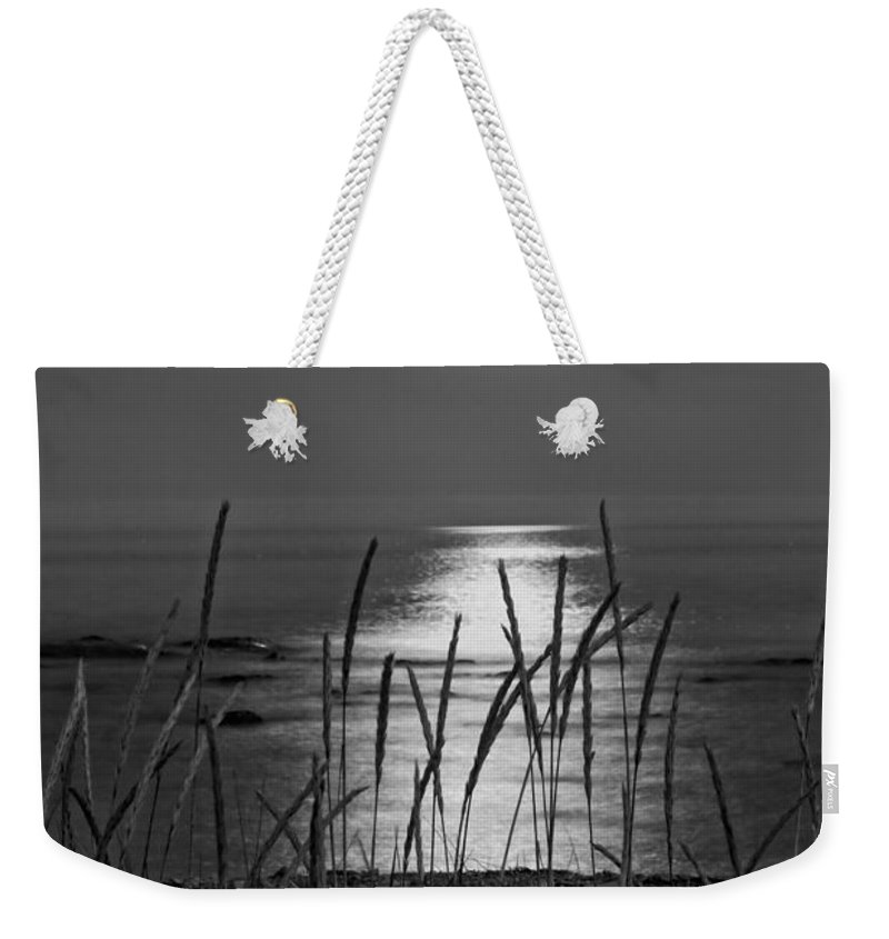 Maine Weekender Tote Bag featuring the photograph Full Moon Seawall Beach Acadia National Park by Keith Webber Jr