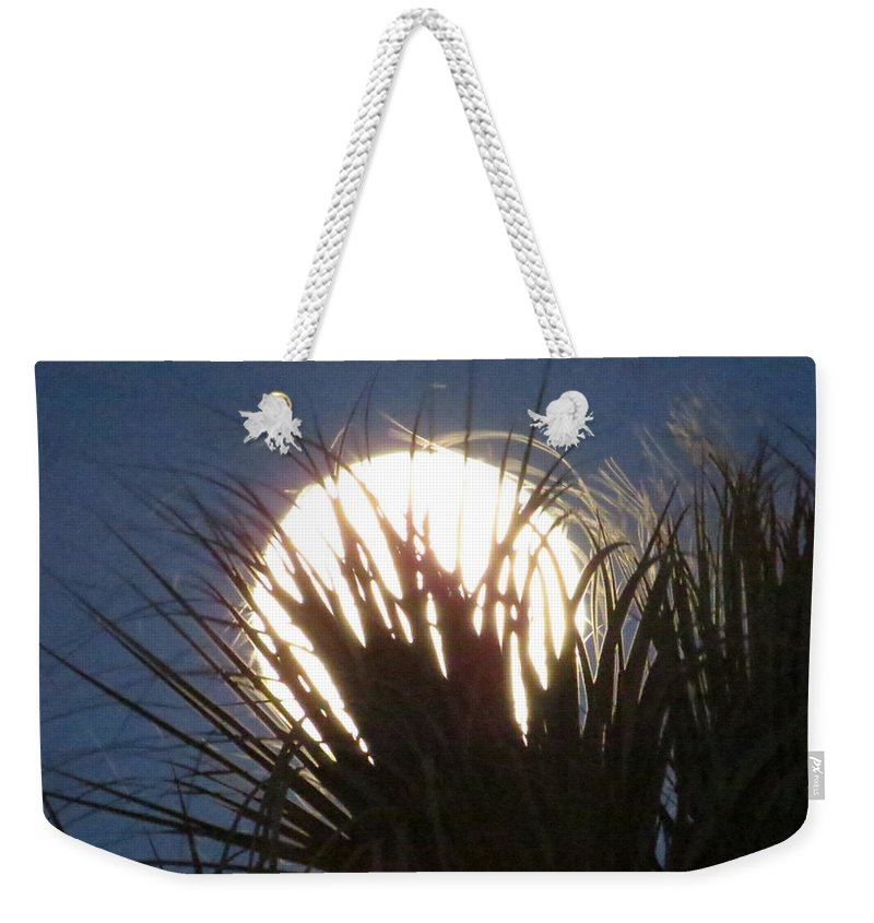 Full Moon Through The Palms Weekender Tote Bag featuring the photograph Full Moon Through The Palms by Zina Stromberg