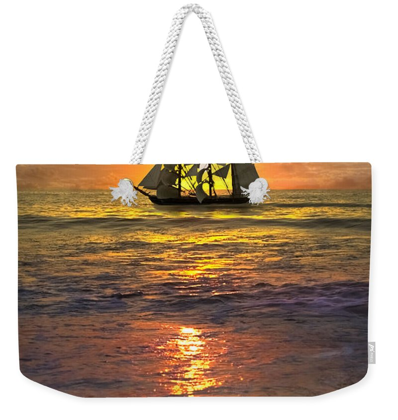 Boats Weekender Tote Bag featuring the photograph Full Sail by Debra and Dave Vanderlaan