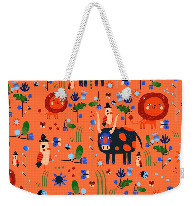 Gouache Weekender Tote Bag featuring the digital art Funny Pattern With Animals by Ekaterina Ladatko