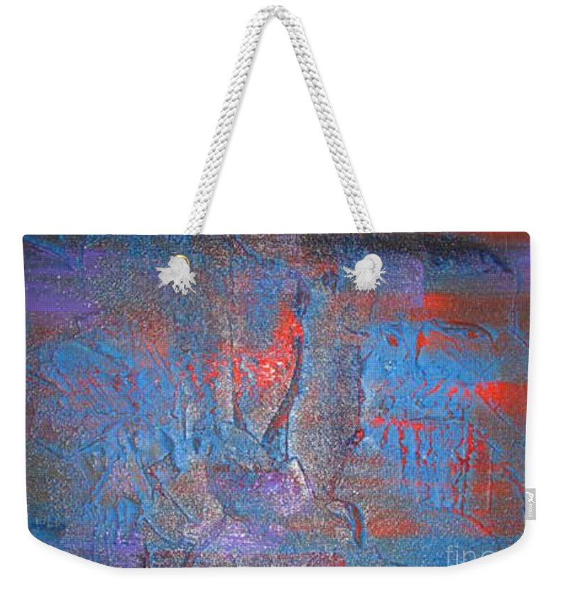 Abstract Weekender Tote Bag featuring the painting Funny Rain by Silvana Abel