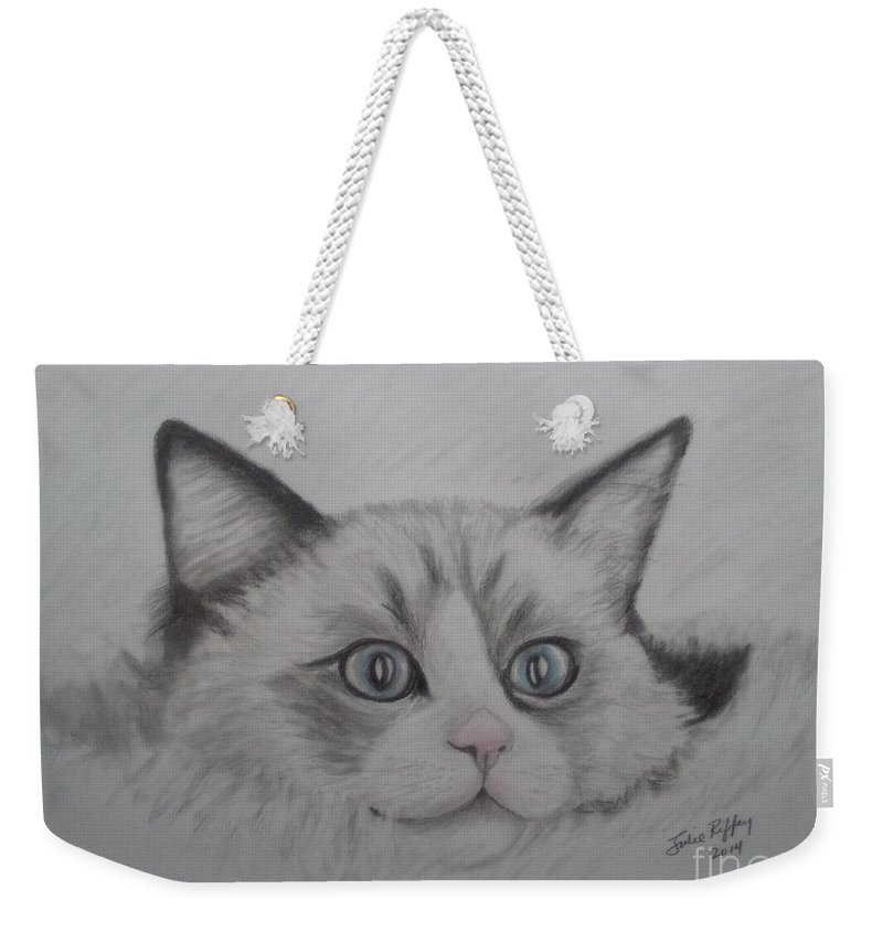 Feline Weekender Tote Bag featuring the drawing Fur Blankie by Julie Brugh Riffey