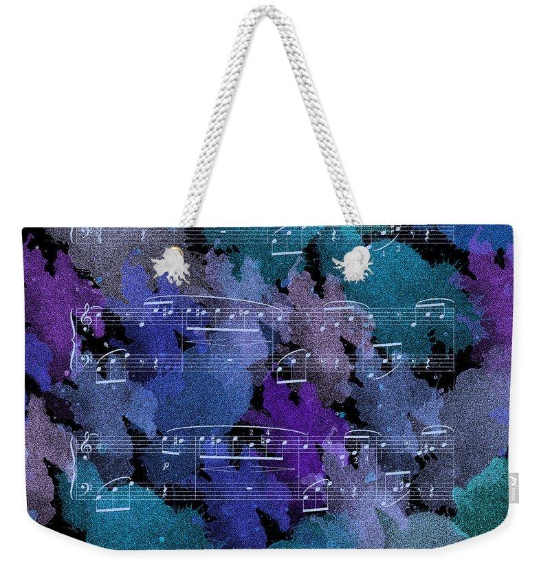 Modern Weekender Tote Bag featuring the painting Fur Elise Music Digital Painting by Georgeta Blanaru