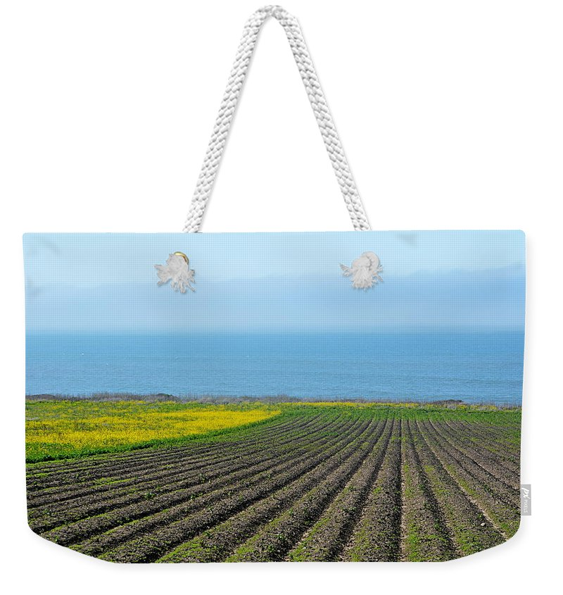 Scenic Weekender Tote Bag featuring the photograph Furrows To The Sea by AJ Schibig