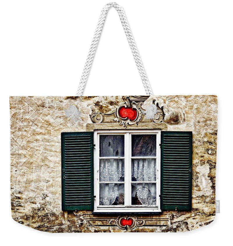 Architecture Weekender Tote Bag featuring the photograph Fussen Window by Marcia Colelli