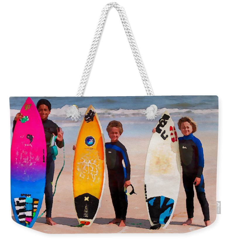 Flagler Beach Weekender Tote Bag featuring the photograph Future Surfing Champs by Alice Gipson