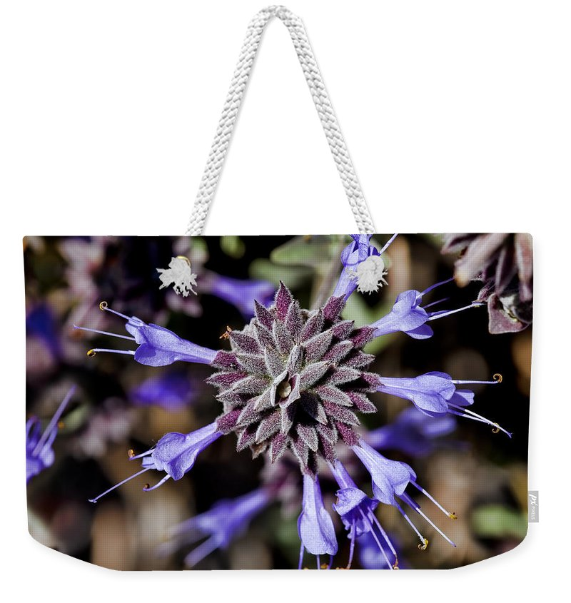 Fuzzy Weekender Tote Bag featuring the photograph Fuzzy Purple 3 by Kelley King