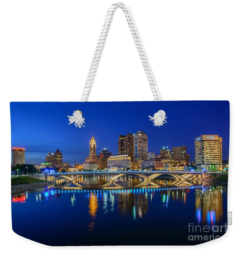 Columbus Weekender Tote Bag featuring the photograph Fx2l530 Columbus Ohio Night Skyline Photo by Ohio Stock Photography