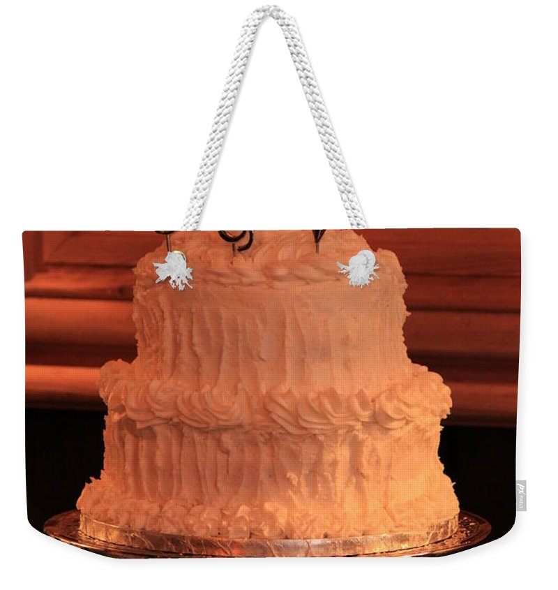 Cake Weekender Tote Bag featuring the photograph G And V Wedding Cake by Jennifer E Doll