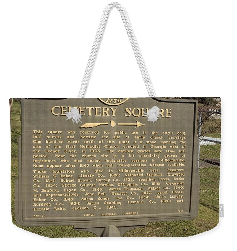 Travel Weekender Tote Bag featuring the photograph Ga-005-28 Cemetery Square by Jason O Watson