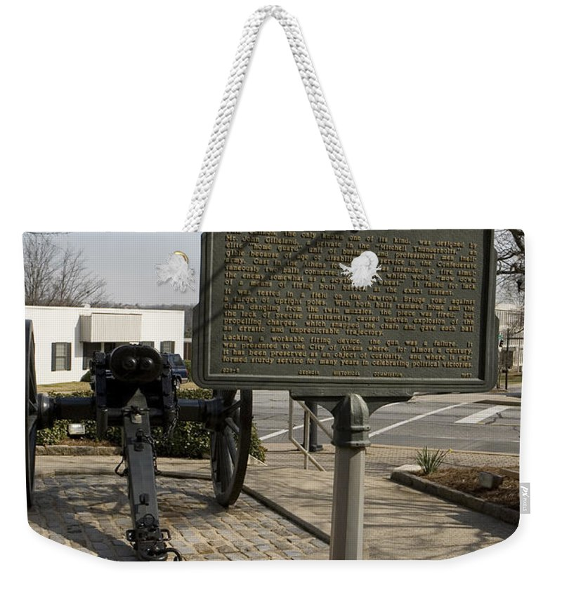 Travel Weekender Tote Bag featuring the photograph Ga-029-5 The Athens Double-barrelled Cannon by Jason O Watson