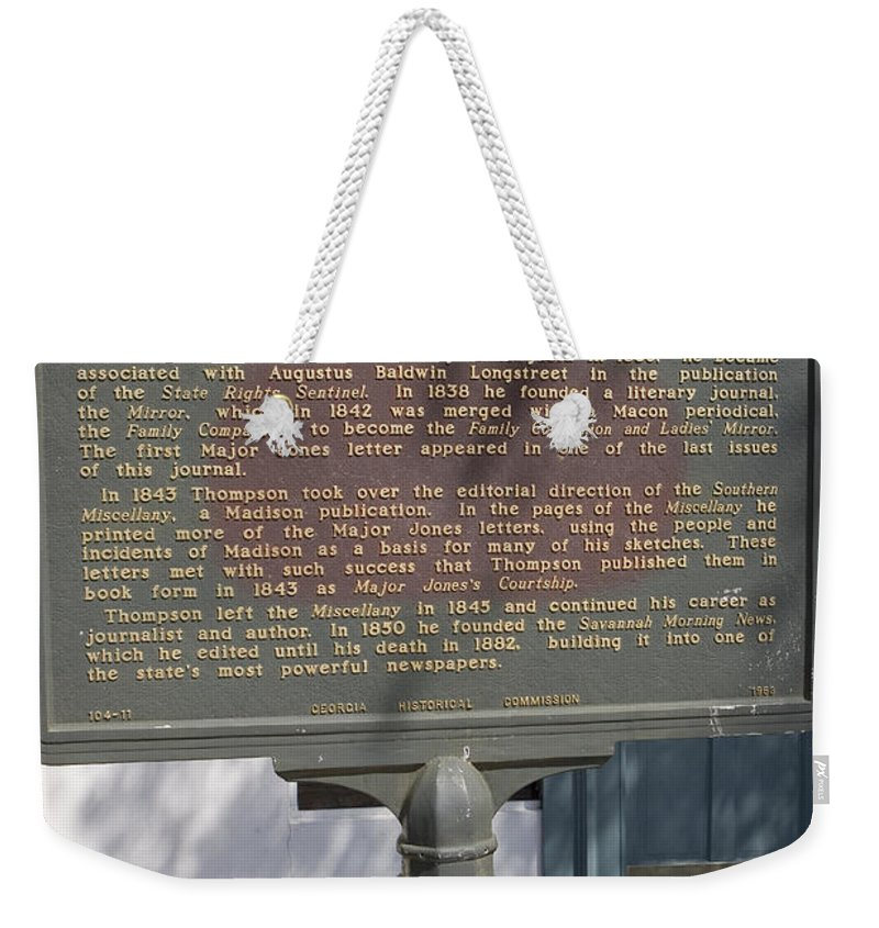Travel Weekender Tote Bag featuring the photograph Ga-104-11 William Tappan Thompson by Jason O Watson