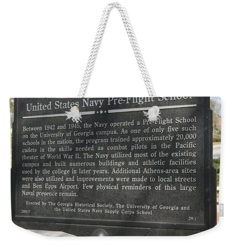 Travel Weekender Tote Bag featuring the photograph Ga-29-1 United States Navy Pre-flight School by Jason O Watson