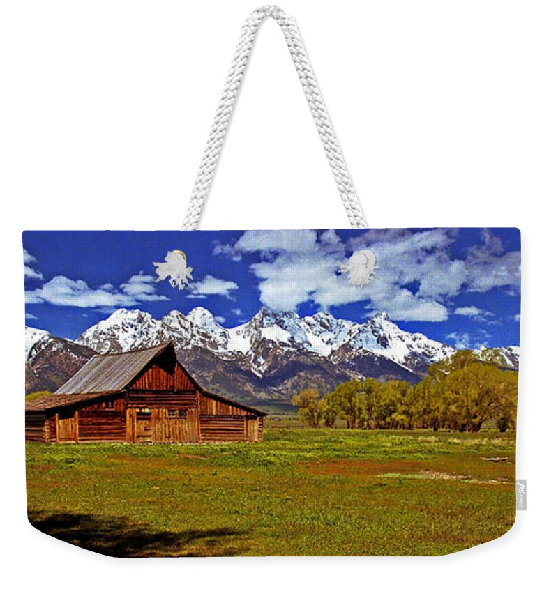 Wyoming Weekender Tote Bag featuring the photograph Gable Roof Barn Panorama by Rich Walter