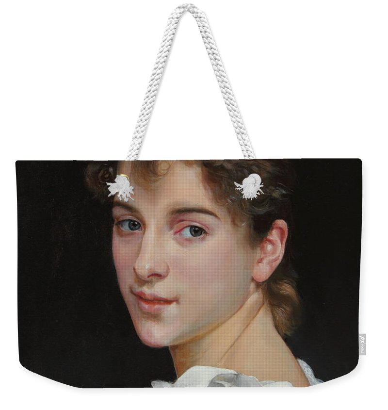 Old Masters Weekender Tote Bag featuring the painting Gabrielle Cot After W. Bougereau by Glenn Beasley