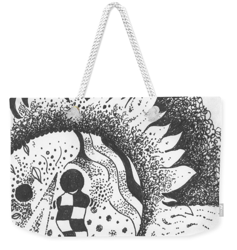 Abstract Landscape Weekender Tote Bag featuring the drawing Gaining Knowledge In An Unknown Territory by Helena Tiainen