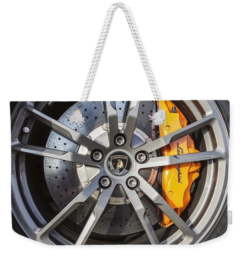 Lamborghini Weekender Tote Bag featuring the photograph Gallardo Superleggera by Jose Bispo