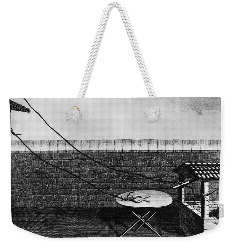 18th Century Weekender Tote Bag featuring the photograph Galvani Galvanism - To License For Professional Use Visit Granger.com by Granger