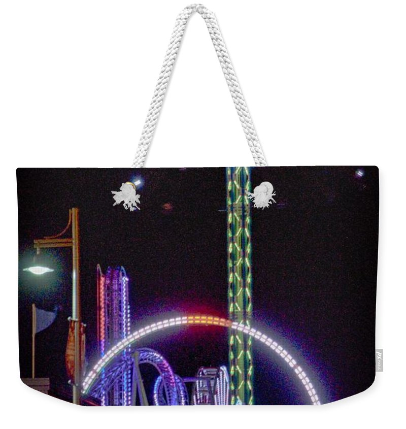 Galveston Weekender Tote Bag featuring the photograph Galveston Pleasure Pier by Kristina Deane