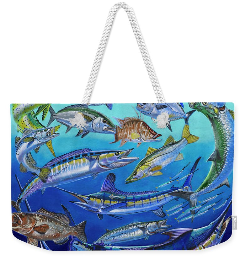 Gamefish Weekender Tote Bag featuring the painting Gamefish Collage In0031 by Carey Chen