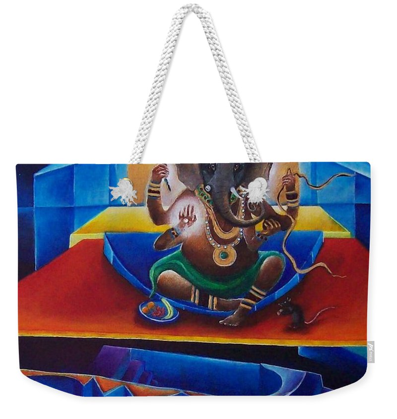 Ganesha Weekender Tote Bag featuring the painting Ganesha by Wolfgang Schweizer